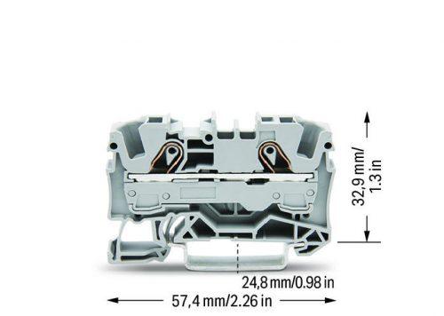 WAGO Prolazna klema za 2 provodnika - Za provodnike 6 mm2 - Nominalna struja 41 A - Centralno i bočno označavanje - Za DIN-šinu 35 x 15 i 35 x 7.5 - 2006-1201