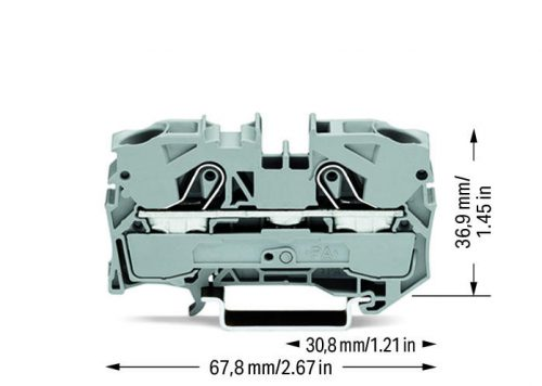 WAGo Prolazna klema za 2 provodnika - Za provodnike 10 mm2 - Nominalna struja 41 A - Centralno i bočno označavanje - Za DIN-šinu 35 x 15 i 35 x 7.5 - 2010-1201