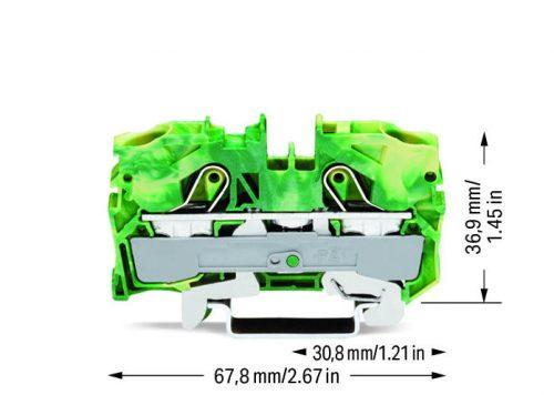 WAGO Prolazna klema za 2 provodnika - Za provodnike 10 mm2 - Klema za uzemljenje - Centralno i bočno označavanje - Za DIN-šinu 35 x 15 i 35 x 7.5 - 2010-1207