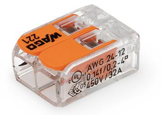 WAGO Kompaktna kratkospojna klema - za 2-provodnika - sa polugama - Maksimalna radna temperatura 85°C - 221-412