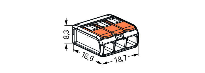 WAGO Kompaktna kratkospojna klema - za 3-provodnika - sa polugama - Maksimalna radna temperatura 85°C - 221-413