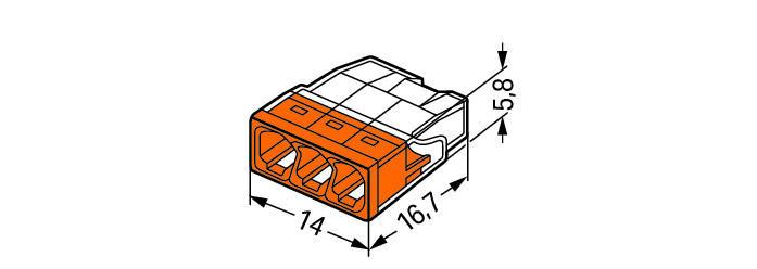 WAGO Kompaktna PUSH WIRE® kratkospojna klema - za 3-provodnika - providno kućište - narandžast poklopac - 2273-203