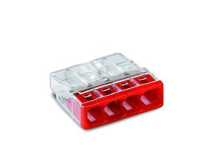 WAGO Kompaktna PUSH WIRE® kratkospojna klema - za 4-provodnika - providno kućište - Crven poklopac - 2273-204
