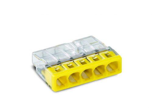 WAGO Kompaktna PUSH WIRE® kratkospojna klema - za 5-provodnika - providno kućište - Žut poklopac - 2273-205