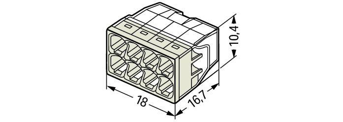 WAGO Kompaktna PUSH WIRE® kratkospojna klema - za 8-provodnika - providno kućište - Svetlo siv poklopac - 2273-208