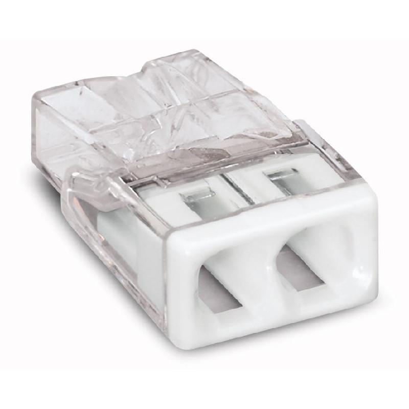 WAGO Kompaktna PUSH WIRE® kratkospojna klema - za 2-provodnika - providno kućište - beo poklopac - 2273-202