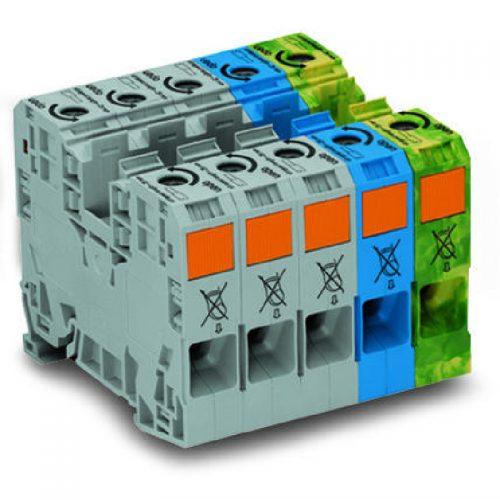 WAGO Trofazni set visokostrujnih klema - 35 mm2 - bočni slotovi za označavanje - Samo za DIN 35 x 15 šinu - 285-139