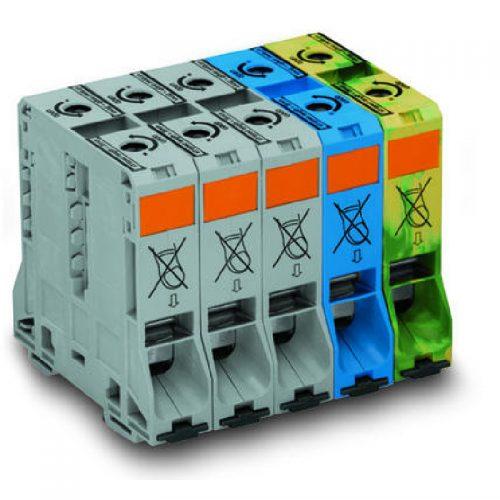 WAGO Trofazni set visokostrujnih klema - 95 mm2 - bočni slotovi za označavanje - Samo za DIN 35 x 15 šinu - 285-199