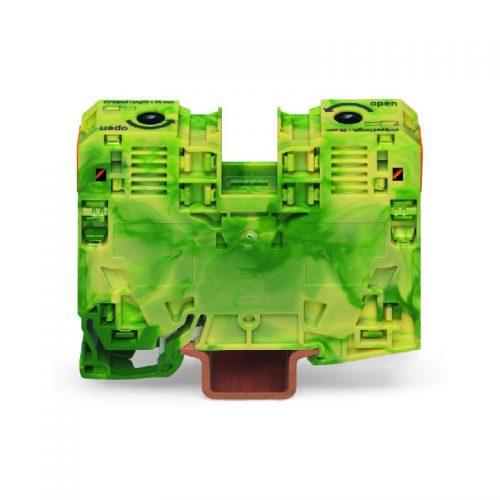 WAGO Visokostrujna klema za uzemljenje - za 2-provodnika - 35mm2 - bočni slotovi za označavanje - Samo za DIN 35 x 15 šinu; 3.5 mm debljine - 285-137