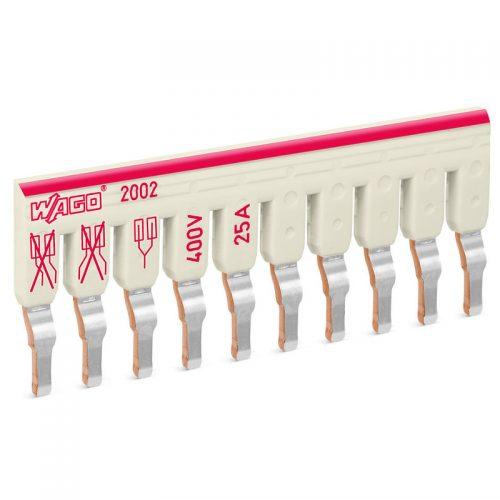 WAGO kosi kratkospojnik - izolovani - sa 10 mesta - nominalna struja 25 A - pogodan za proizvode iz serija 2002 i 2003 - 2002-480
