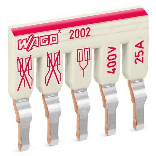 WAGO kosi kratkospojnik - izolovani - sa 5 mesta - nominalna struja 25 A - pogodan za proizvode iz serija 2002 i 2003 - 2002-475