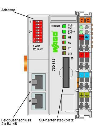 WAGO Kontroler Ethernet - 3-generacija - SD kartica, Media Redundancy protokol - 750-885