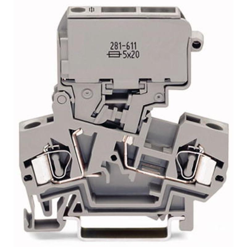WAGO Prekidačka klema za osigurače sa pivotirajućim nosačem osigurača - za 5 x 20 mm minijaturne metričke osigurače - bez indikacije pregorelog osigurača - 281-611